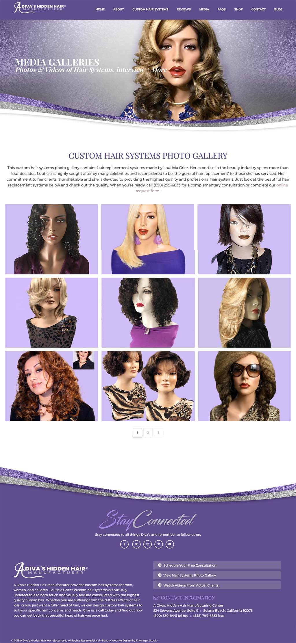 Website Design Envisager Studio-A Diva's Hidden Hair Manufacturer