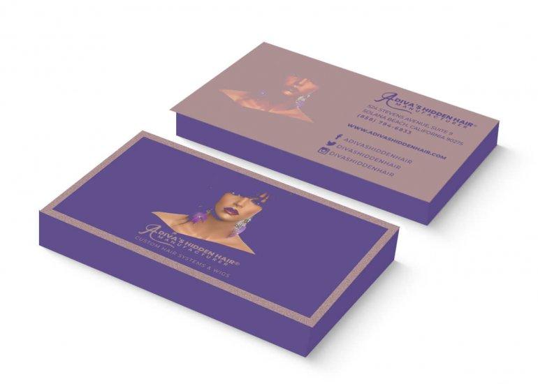 Business Card Design for A Diva's Hidden Hair Manufacturer