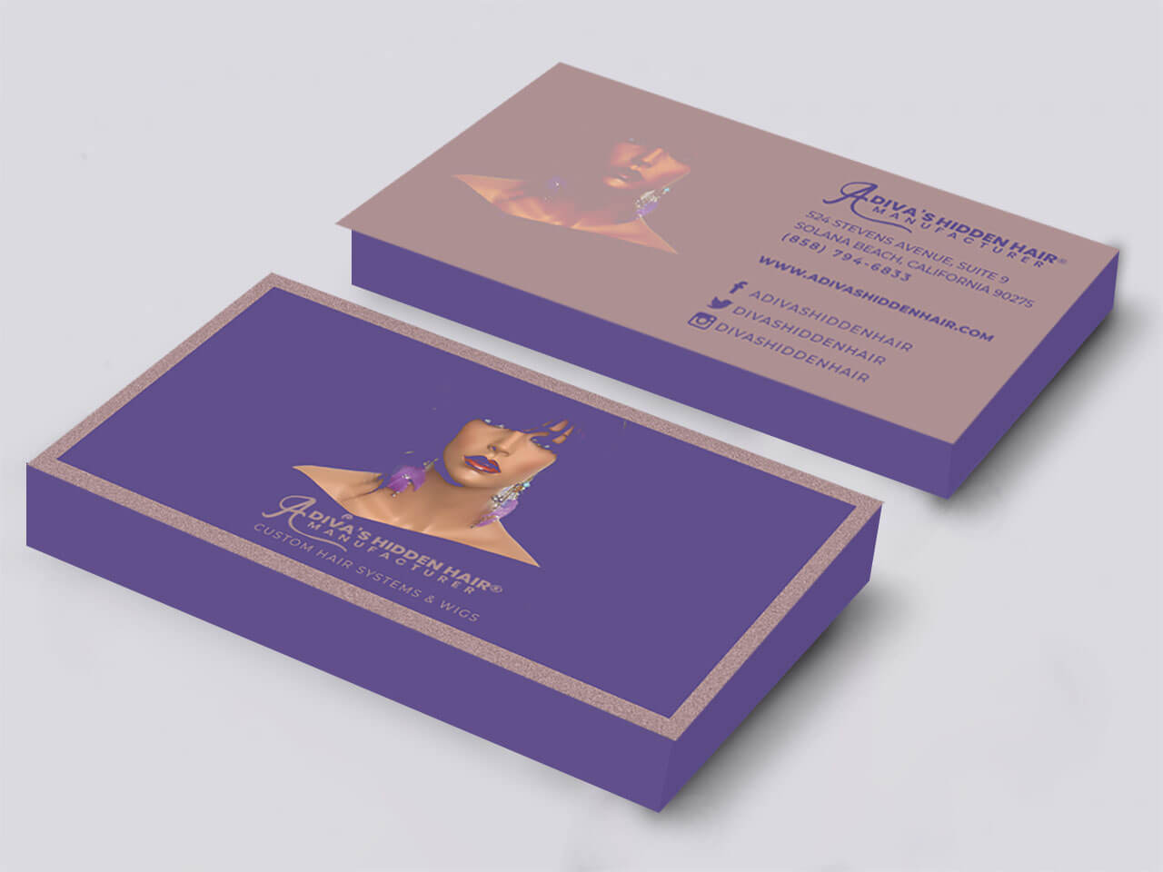 Business Card Design A Diva's Hidden Hair
