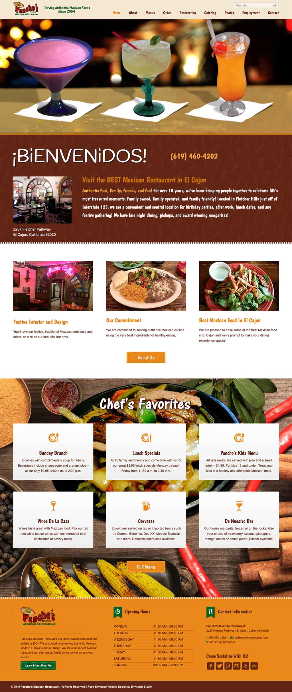 Pancho's Mexican Restaurant Website Design