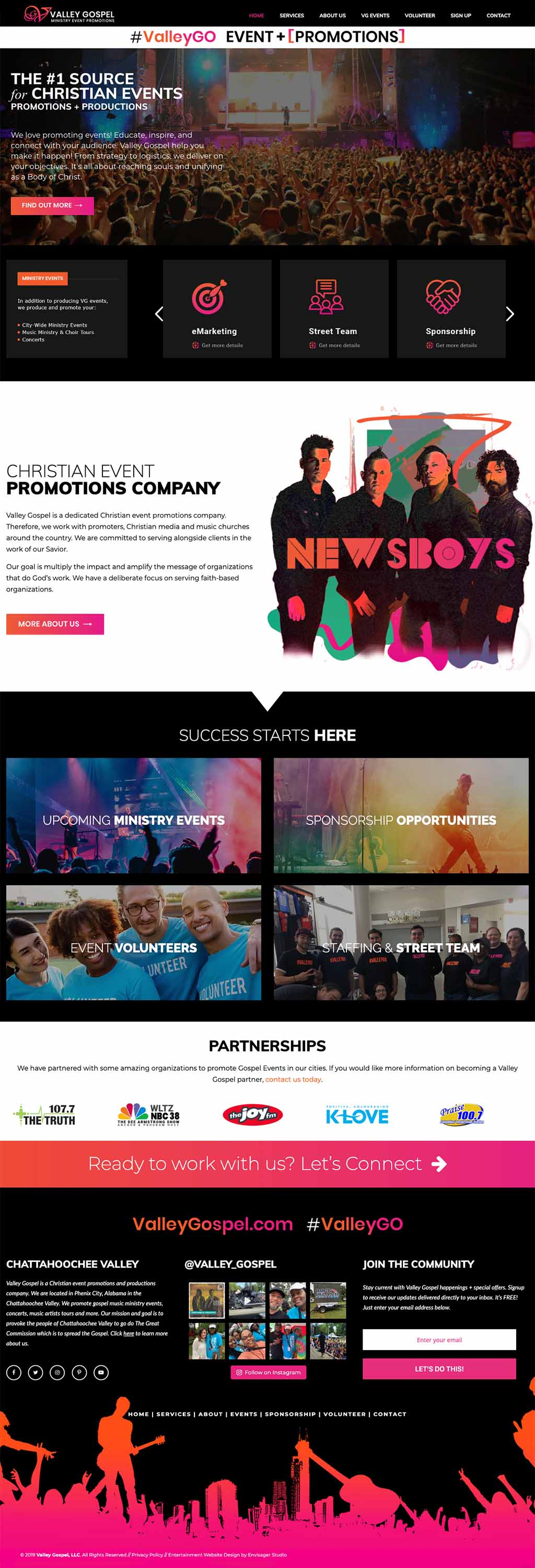 Valley Gospel Events Website by Envisager Studio