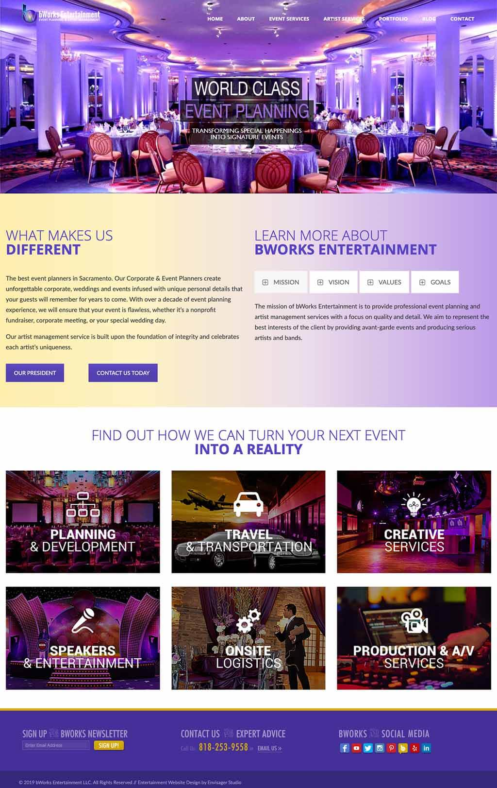 bWorks Entertainment Events Website