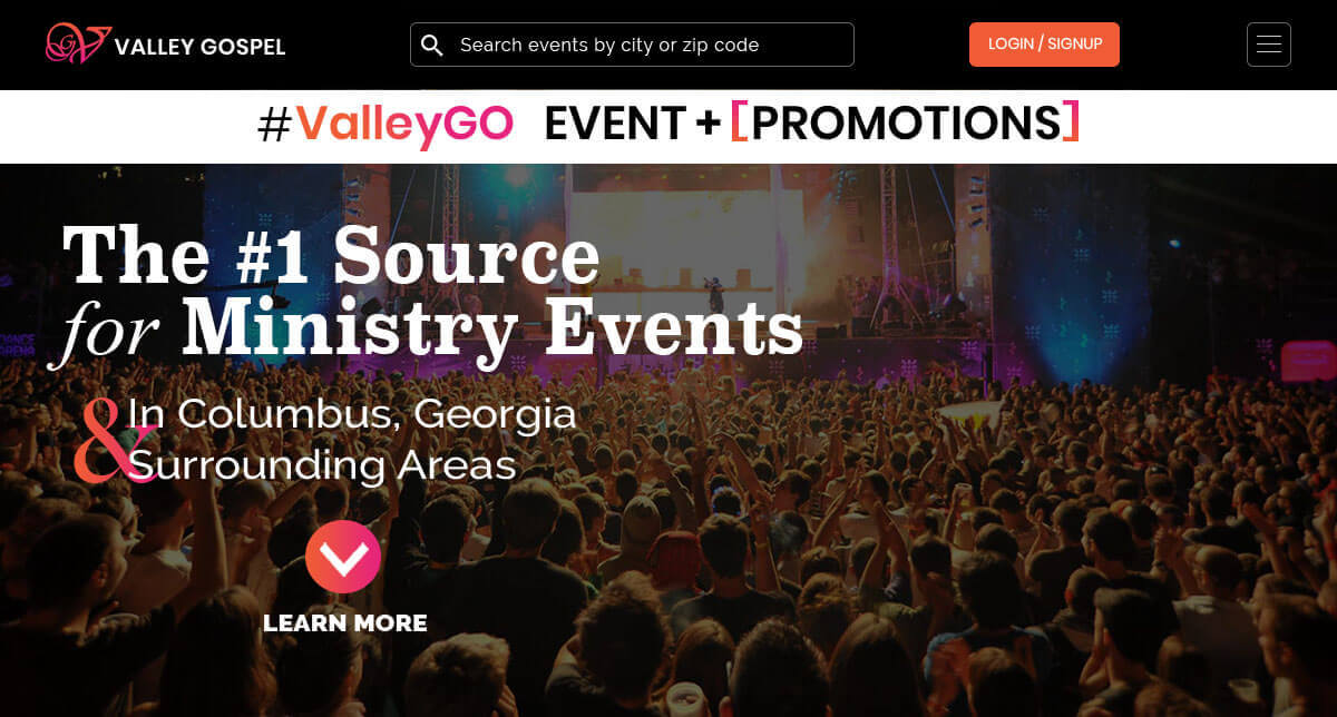 Events Planning Website Design, Valley Gospel