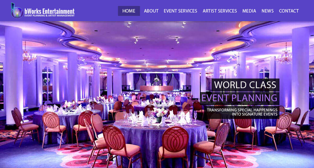 Event Planner Website Design, bWorks