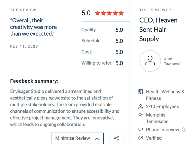 Clutch Reviews, Envisager Studio