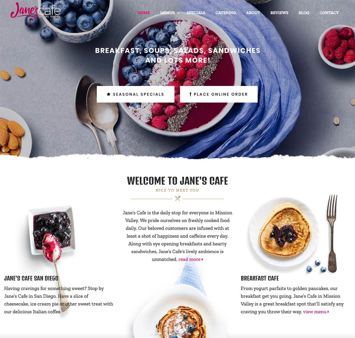 Cafe Restaurant Website Design San Diego