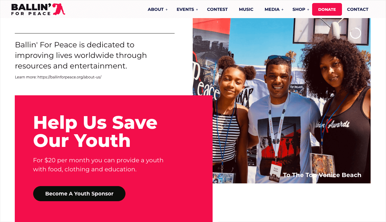Nonprofit Website Design for Ballin' For Peace