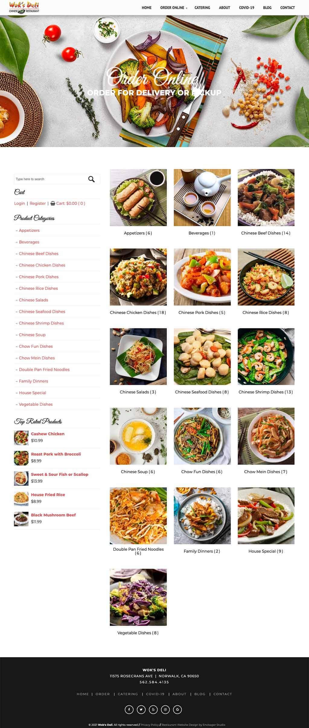 Wok's Deli Chinese Food Website Design
