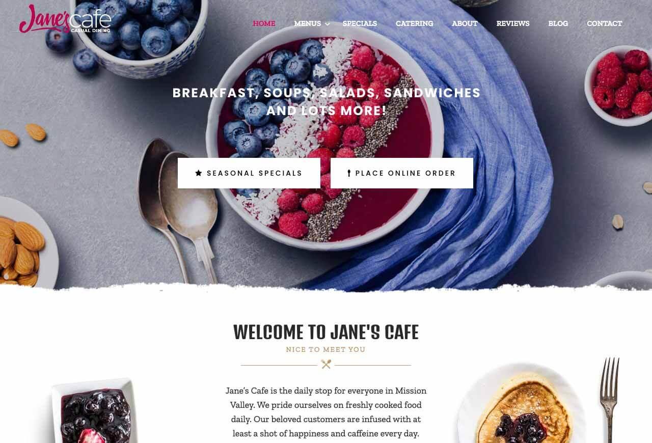 Best Restaurant Website Design Examples - Jane's Cafe